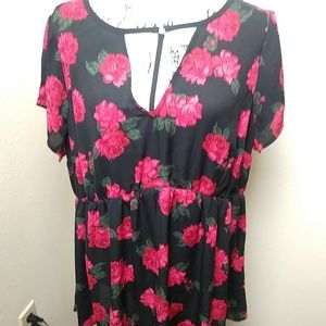 Torrid black and red floral baby doll top